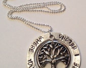 WHERE YOU ARE Is Where I Belong Tree of Life Washer Pendant Necklace