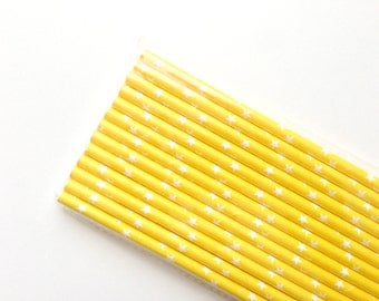Yellow with White Stars Paper Straws (25), Drinks,