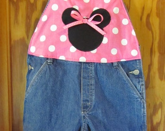 SALE Minnie Inspired  Upcycled Overalls Choose your Size