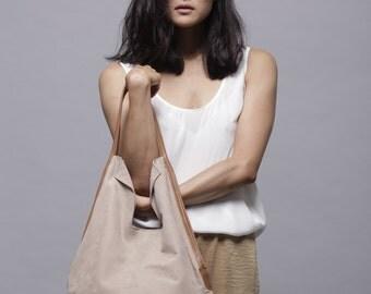 Beige Soft Leather Bag, Elegant Leather Tote Bag, Leather Handbag, Womens Office Bag, Leather Shoulder Bag, Casual Bag - Charley Bag