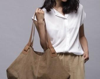 Brown leather bag- leather handbag - Soft leather bag - Big brown nubuck bag