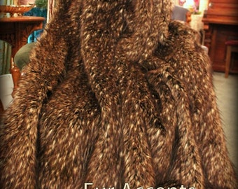 Luxurious Faux Fur Throw Blanket - Bedspread - Comforter - Brown and Black Tip Spotted Lynx - Minky Cuddle Fur Lining - Fur Accents USA