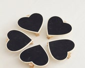 Set of 5 - Chalkboard Heart Clothespins - Herb Garden sign - Wood Clips - Table Numbers -  Gift Tags - Favor Tags - Name Tags