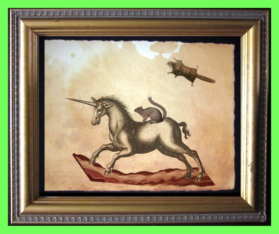 Magic Bacon Ride - Squirrel Riding Unicorn - Flying Squirrel - Vintage Collage Art Print on Tea Stained Paper - Vintage Art Print