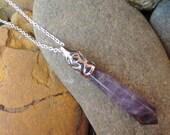 "Amethyst Teardrop Pendant Healing Crystal Necklace - Long Length 30"" Sterling Silver Chain"
