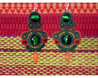 Green & Orange soutache earrings with Venetian GLASS