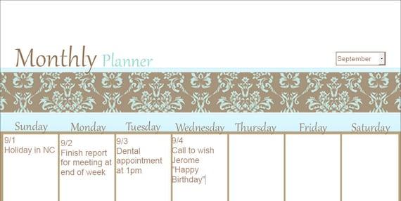Editable Monthly Calendar / Calendar Planner / Calendar / PDF
