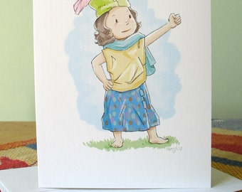Feather in Her Cap note card with envelope / blank inside / confident strong cute girl / original art by Kathe Keough
