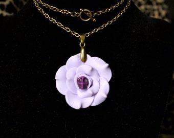 Purple Flower Skull Necklace