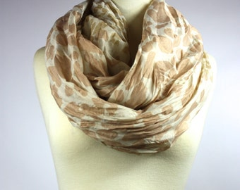 Animal print infinity scarf,  loop scarf, chunky circle scarf , crinkled scarf in  Beige