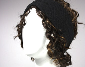 Black headband, Turban, Stretchy Turban, black turban
