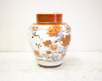 Japanese Kutani Orange & White Ginger Jar with Inner and Outer Lid