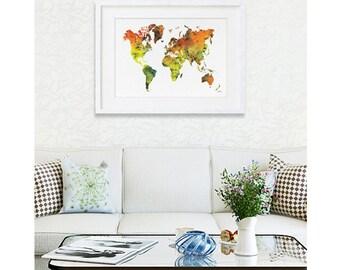 Watercolor Print - Extra Large 16 x 20 Archival Print - World Map Art Print, Orange Yellow, Green - Wall Decor Art Home Decor Housewares