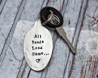 All Roads Lead Home Keychain - Vintage Silver Plated Flattened Spoon - Upcycled Gift - Going Away Gift - Repurposed