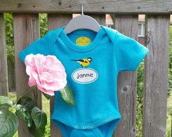 Tomtit! Personalized onesie with a tomtit (and the name of the baby)