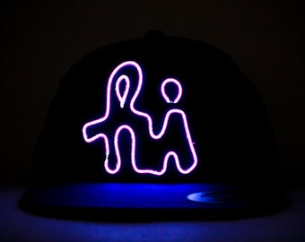 Light Up Hi Hat made with El Wire in all colors; blue, green, orange, yellow, pink, purple, white