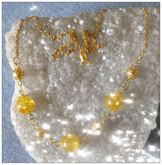 Handmade Gold Necklace with Amber by IreneDesign2011