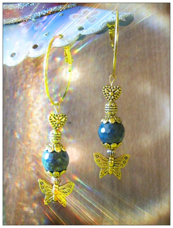 Handmade Gold Earrings with Facetted Labradorite by IreneDesign2011