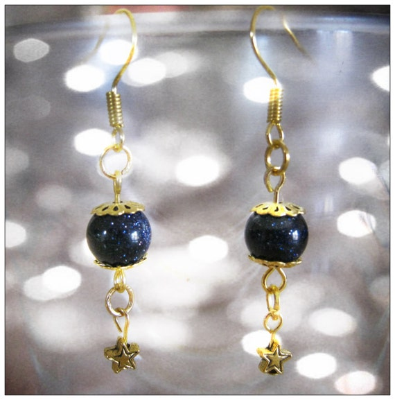 Handmade Gold Hook Earrings with Blue Goldstone & Star by IreneDesign2011