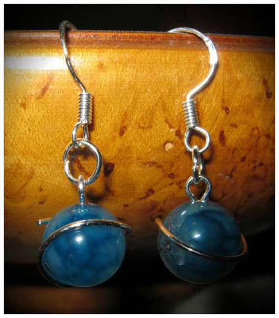 Handmade Silver Hook Earrings with Blue Vein Agate by IreneDesign2011