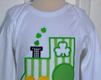 Personalized St. Patrick's Day Shamrock Train Applique Shirt or Onesie Girl or Boy