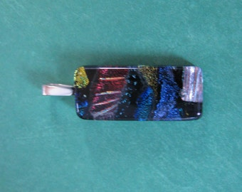 Dichroic Fused Glass Pendant, OOAK Omega Slide, Blue, Black, Red, Dichroic Fused Glass Jewelry, Ready to Ship - Kinley - 4017 -2