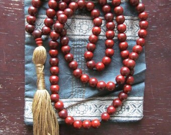 Rosewood 108 Bead Mala Necklace, Prayer Beads, Meditation Beads, Yoga Jewelry, Beaded Wood Necklace, Long Necklace, Japa Mala