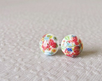 Vintage Glass Post Earrings - White with Multicolored Millefiori Speckles