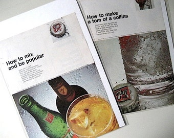 1967 Vintage Ads / How To 7-Up Mix Ads / Popular Mechanics / 2 Mixology Prints / The UnCola / Home Decor / Ready To Frame / Paper Ephemera