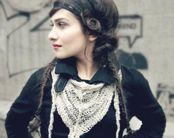 womens lace shawl - bohemian shawl - gift for her -  linen shawl - triangle shawl - mini shawl