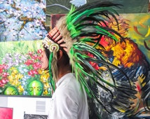 The Original - Real Feather Green Chief Indian Inspired Headdress 75cm, Native American Style Costume Hand Made War Bonnet Hat