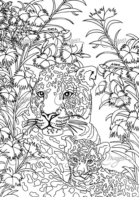 Items Similar To Masjas Leopards Coloring Page On Etsy