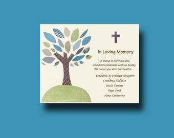 In Loving Memory, Tribute Memorial Rememberance, In Memory Wedding Sign, Wedding Dedication to Deceased, Personalized Dedication
