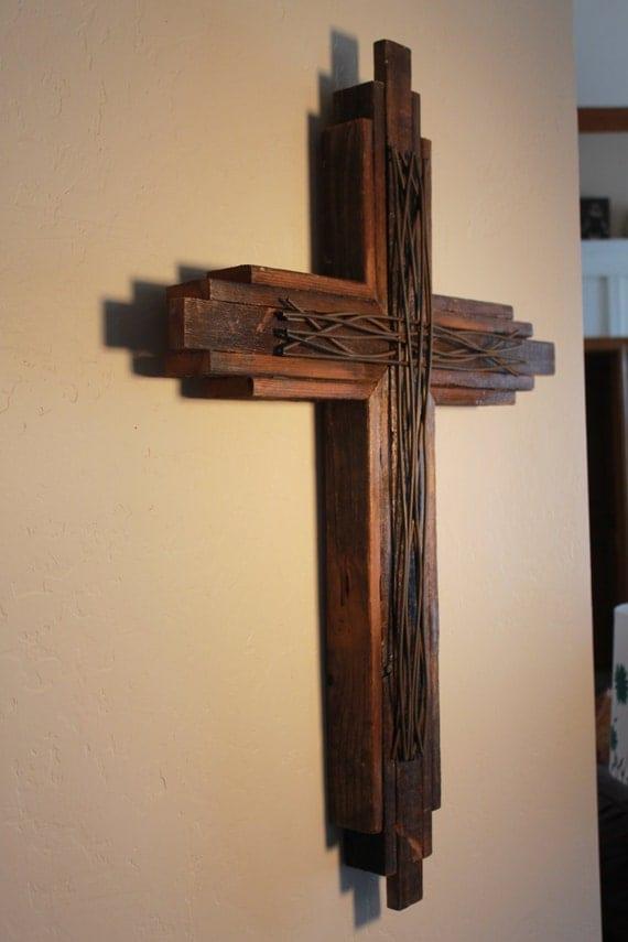 Church decor sanctuary wall cross 40 tall by okiebudsworkshop - Exterior church crosses for sale ...