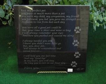 Granite Dog Memorial Marker Plaque