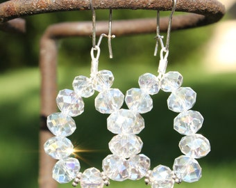 Faceted glass beads & sterling silver handcrafted earrings