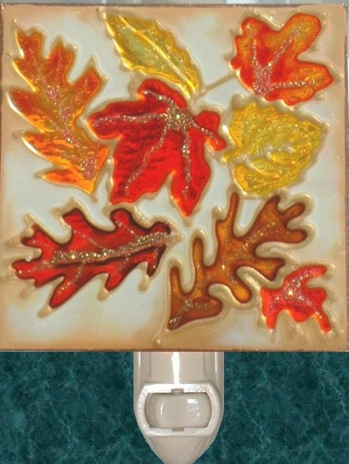 Thanksgiving Leaf Stained Glass Autumn Leaves Night Light