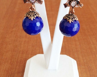 Vintage Look Brass Earrings with Blue Agate Beads