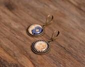 Sun and moon earrings, dangle earrings, glass dome earrings, antique brass earrings, antique bronze earrings, moon and sun dangle earrings