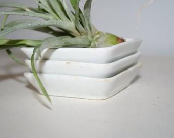 Set of Three Square White Porcelain Dishes