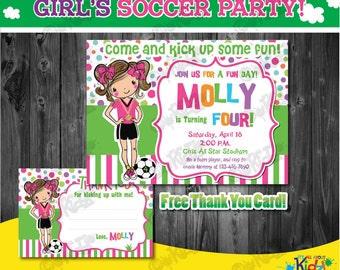 Girl's Soccer Birthday party Invitation, Soccer Party Invitation, sports Party Invitation, Sports Birthday Invitation, DIY Printable Invite