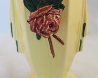 Vintage McCoy yellow vase with applied bud. C. 1948.