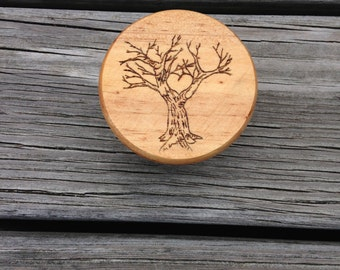 Tree of Life Wood Burned Trinket Box