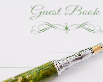 Fountain Pen-Green and Yellow Dyed Buckeye Burl Wood