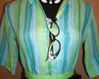 Vintage Blue Green Striped Button up Collared Slightly Sheer Blouse Mad Men medium
