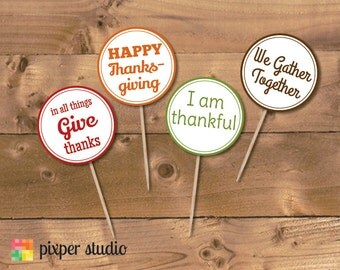 INSTANT DOWNLOAD - Thanksgiving Cupcake Toppers
