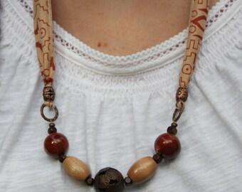 Silk Sari Ribbon Beaded Necklace