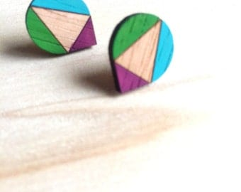 Hand Painted Laser Cut Wood Geometric Droplet Pattern Stud Earrings- Burgundy, Grass Green and Blue