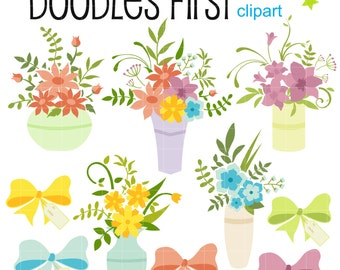 Flower Bouquet Gift Mother's Day  Digital Clip Art for Scrapbooking Card Making Cupcake Toppers Paper Crafts