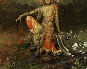 "Kwan Yin - Goddess of Compassion (Green) - Original 11""x17"" Art Print - SIGNED by Angi and Silas"